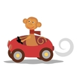 cute monkey with scarf on car vector image