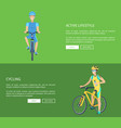 cycling and active lifestyle vector image vector image