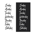 days of the week typography set vintage vector image vector image