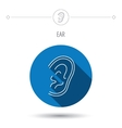 Ear icon Hear or listen sign vector image