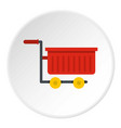 empty red plastic shopping trolley icon circle vector image vector image