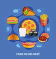 fast food delivery service flat poster vector image vector image