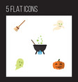 flat icon halloween set of broom phantom ghost vector image vector image