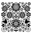 folk art retro pattern scandinavian design vector image