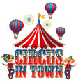 font design for word circus in town with clowns vector image vector image