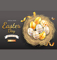 happy easter day easter eggs gold colorful vector image