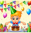 happy kid celebrating birthday vector image vector image