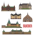 Historic buildings and architecture of Sweden vector image vector image