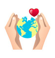 human hands holding globe vector image