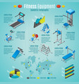 isometric fitness equipment infographic template vector image