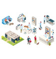 isometric veterinarian clinic pets and doctors vector image