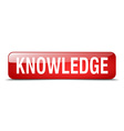 knowledge red square 3d realistic isolated web vector image vector image