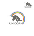 logo unicorn is surrounded a rainbow vector image