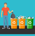 man with trash vector image vector image