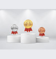 medals on pedestal first second third place vector image