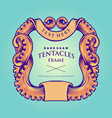 nautical octopus tentacles frame vintage vector image vector image