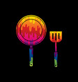 pan and spatula top view vector image vector image