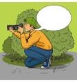 Paparazzi photographer pop art style vector image vector image