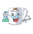 professor character toilet paper rolled on wall vector image vector image