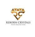 r c crystals gold logo designs simple modern vector image
