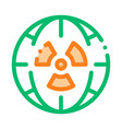 radiation symbol and planet thin line icon vector image