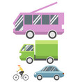 set flat transport icon vector image