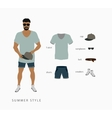 set menswear summer style vector image vector image