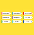 set modern trendy buttons flat style vector image