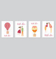 set of cards with hot air balloon vector image vector image