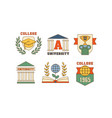 set of emblems for universities vector image