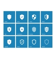 Shield icons on blue background vector image vector image