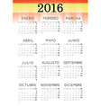 Spanish 2016 Calendar vector image vector image