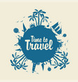 Summer travel banner with palm trees and surfers