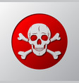 the skull and crossbones is cut from the paper vector image vector image