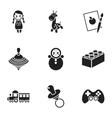 Toys set icons in black style Big collection of vector image vector image