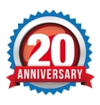 Twenty years anniversary badge with red ribbon vector image