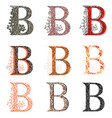 various combination fishnet letter b vector image vector image