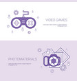 video games and photo materials concept template vector image