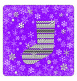 vintage card knitting sock for gifts snowflakes vector image vector image