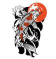 vintage tattoo design koi fish vector image