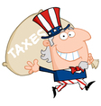 waving uncle sam carrying a taxes sack vector image vector image