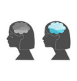 woman head profile with dark and clear sky vector image