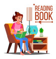 woman reading book reading at home love vector image