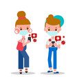 young man and woman checking their smartphone vector image vector image