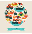 Flat Style Food Sushi Sashimi and Rolls Objects vector image