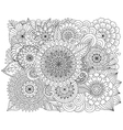 Hand drawn zentangle floral background for colorin vector image