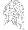 abstract woman face - hand drawn print with gold vector image