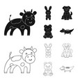 an unrealistic blackoutline animal icons in set vector image vector image