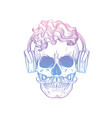 angry skull with cirly hairstyle vector image vector image