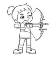 archer girl aiming target bw vector image vector image